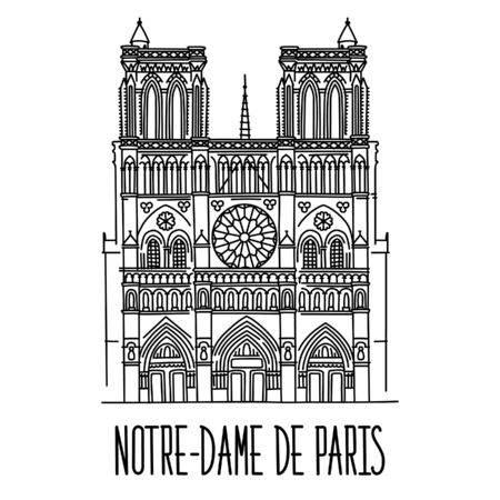 Hand drawn sketch of the Notre-Dame de Paris, France. Vector drawing isolated on white background. Vectores