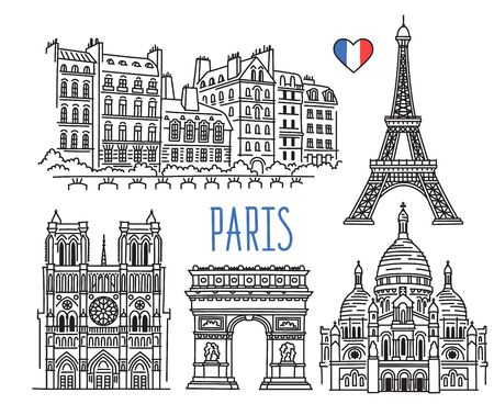 Architecture, landmarks and monuments of Paris, France. Eiffel Tower, Notre Dame, Arc de Triomphe, Basilica of the Sacred Heart of Montmartre. Vector sketch drawing isolated on white background Illustration