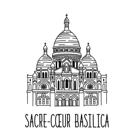 Hand drawn sketch of The Basilica of the Sacred Heart of Paris, France (Basilique du Sacre Coeur de Montmartre). Vector sketch drawing isolated on white background