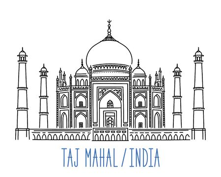 Taj Mahal mausoleum, Agra, India. Freehand sketch drawing of mosque building. Hand drawn outline vector illustration isolated on white background