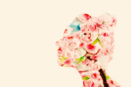 Spring flower woman, double exposure