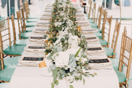 Wedding decor in green white tones