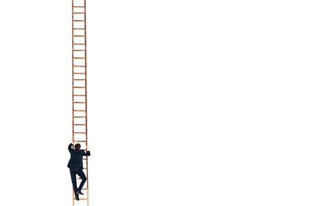 Businessman in black suit lift up the stair. Career and growth in business concept. White background and copy space. 免版税图像