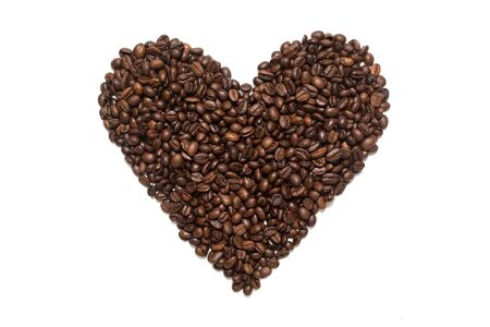 Coffee beans heart shape. Isolated on white background. Stok Fotoğraf