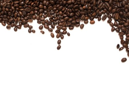 Coffee grains on white background. Isolated. Stok Fotoğraf