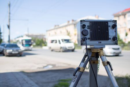 Roadside Speed Meter and vehicle Banque d'images