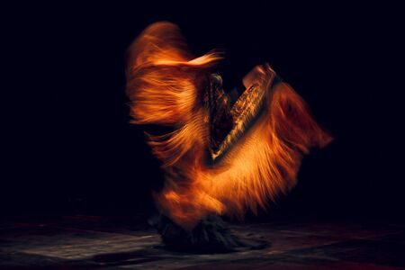Flamenco dancer in traditional costume with shawl motion blur. Flamenco spanish dance on stage.