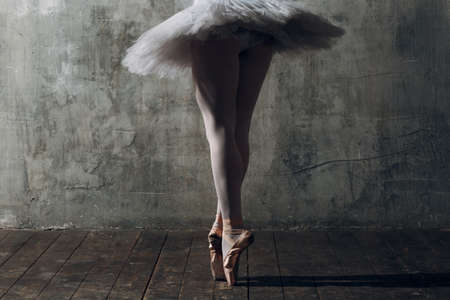 Modern ballet, great design for any purposes. Ballet dancer ballerina. Balance training. Classical choreography style. Beautiful dancer ballerina. Classical music. Elegant ballet style. Banque d'images - 150871734