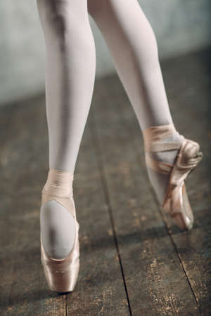 Ballerina female. Young beautiful woman ballet dancer, dressed in professional outfit, pointe shoes and white tutu. Banque d'images