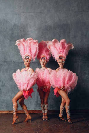 Three Women in cabaret costume with pink feathers plumage Stock fotó