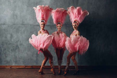 Three Women in samba or lambada costume with pink feathers plumage Stock fotó