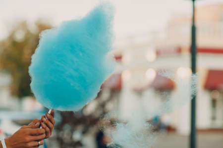 Cotton Candy floss machine making blue candyfloss outdoor Stok Fotoğraf - 154845752