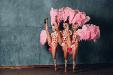 Three Women in cabaret costume with pink feathers plumage Stok Fotoğraf
