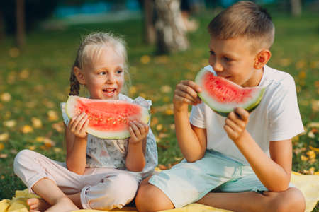 To cute kids lttle boy and girl eating juicy watermelon in the autumn park meadow