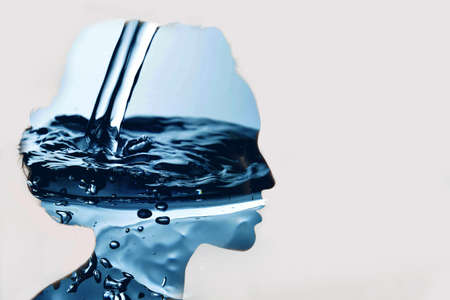 Multile exposure silhouette portrait of woman drinking water