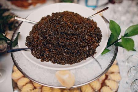 black sturgeon caviar on the table in a restaurant Standard-Bild