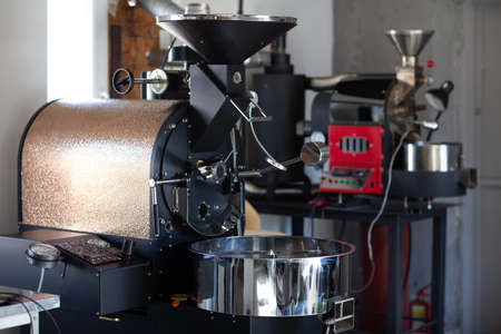 Coffee roaster machine at coffee roasting process