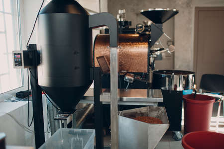 Coffee destoner machine at coffee roasting process