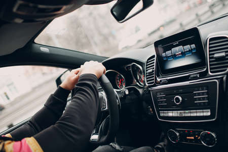 USA - New York, March 19, 2019: The new modern Mercedes Benz AMG GLE 63 S 4MATIC in dealership salon vehicle interior Editorial