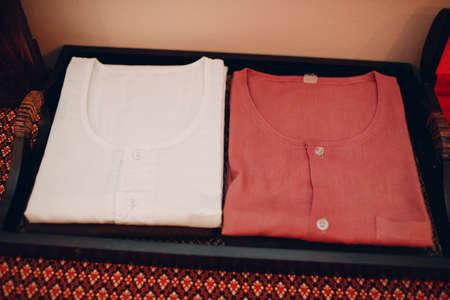 Shirt dress accessories for thai massage procedure at beauty spa Foto de archivo
