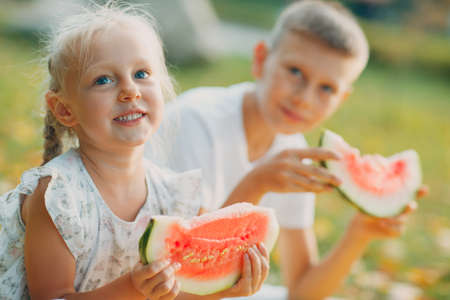Funny little toddler kids brother and sister eating watermelon on the park. Happy boy and girl together. Childhood, Family, Healthy Diet Concept.