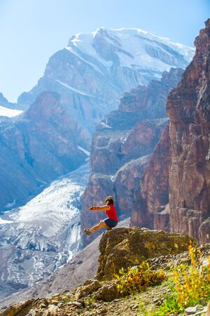 tajikistan: Chimtarga peak, Fann mountains, tourism, Tajikistan Stock Photo