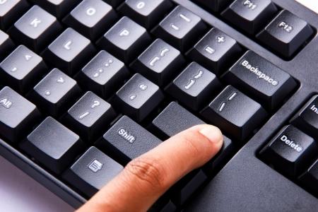 blanked: Finger press the blanked enter key