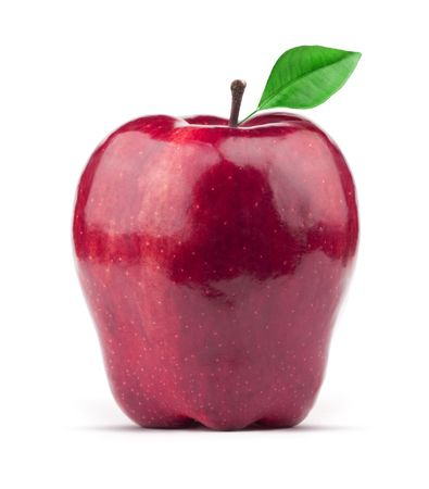 Beautiful juice red apple on white background