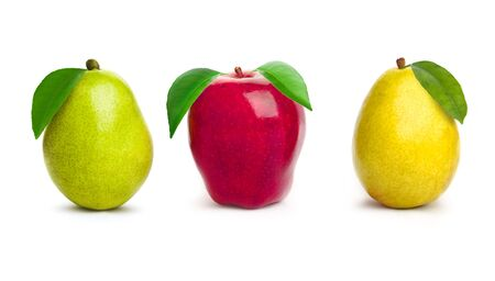 Beautiful apple with pear on white background photo