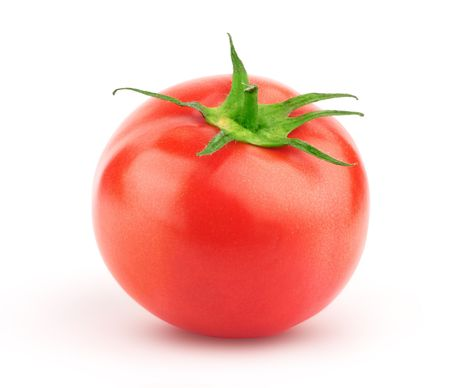 Beautiful issolated tomato with green leaf on white background