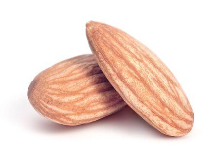 Beautiful almonds on white background