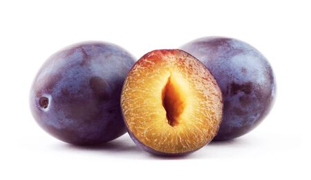 Beautiful issolated plum on white background Imagens