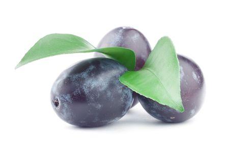 Beautiful issolated plum on white background Stockfoto