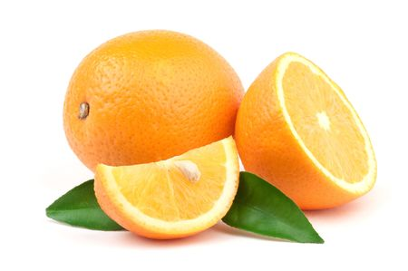 Beautiful juice issolated orange on white background Stockfoto