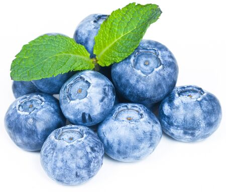 the blueberry: Ripe and Fresh Blueberries On A White Background Stock Photo