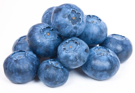 bilberries: Ripe and Fresh Blueberries On A White Background Stock Photo