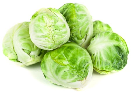 Beautiful Brussels sprouts on white background