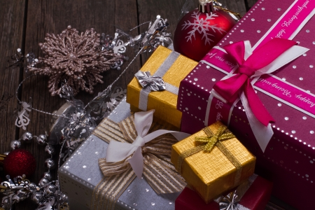 Christmas and New Year Gift Box Stockfoto