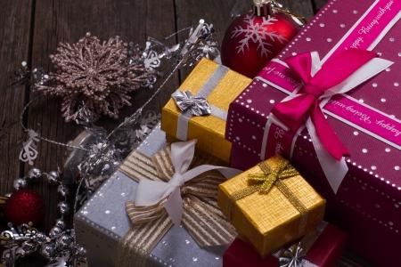 Christmas and New Year Gift Box Standard-Bild