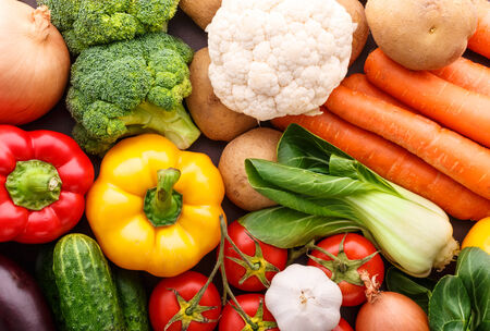 Big set of vegetables. Tasty and wholesome healthy food. photo