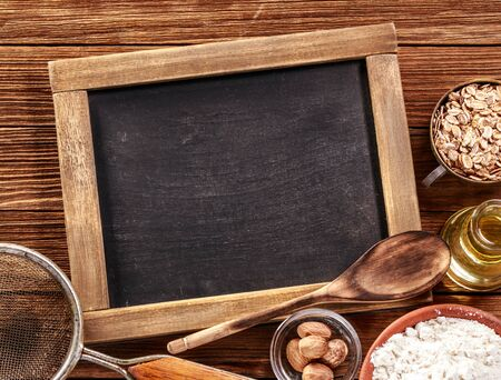 Ingredients for baking on rustic wooden background Imagens