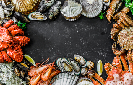 Seafood background with delicious food