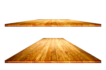 Empty dining table vintage style with clipping path in perspective view for product placement or montage with focus to table. Wooden board surface. Stock Photo