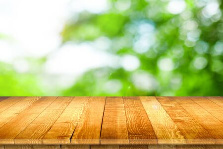 Empty wooden table for product placement Stock Photo