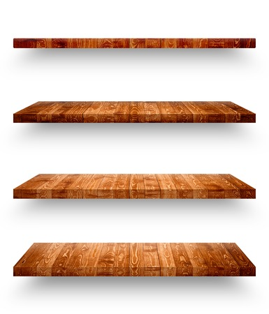 Wooden shelf isolated on white background with clipping path