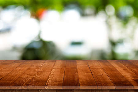Empty wooden table perspective for product
