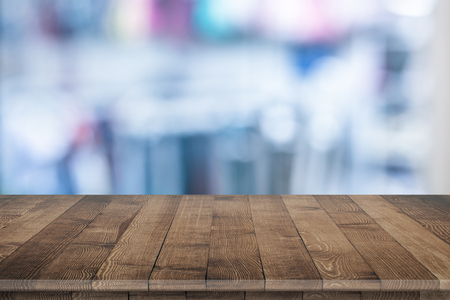 Wooden tabletop perspective for product placement or montage with focus to table. Wooden board surface. Stock fotó