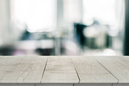 Empty wooden table perspective for product placement or montage with focus to table. Wooden board surface. Stock fotó