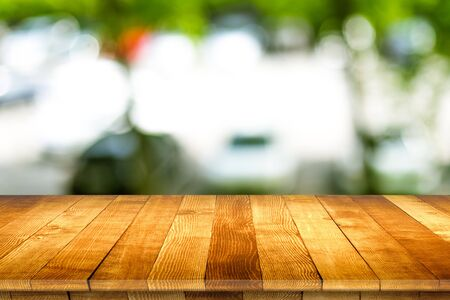 Wooden table top view rustic style. Natural wooden planks.