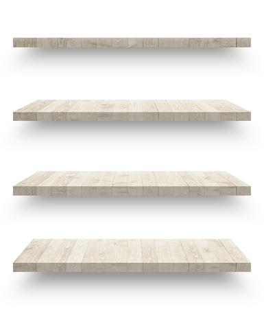 Wooden shelf isolated on white background Reklamní fotografie